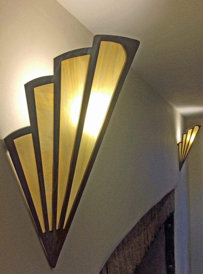 Art Deco Wall Fan Uplighter