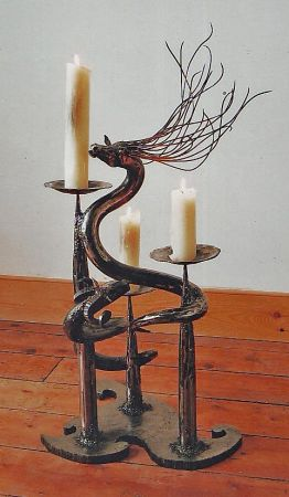 triple candle holder with horse and ram serpent