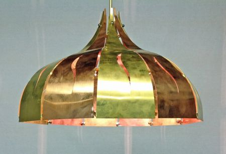 downlighter. brass and copper