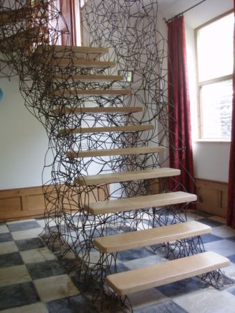 lattice work staircase with birch ply treads