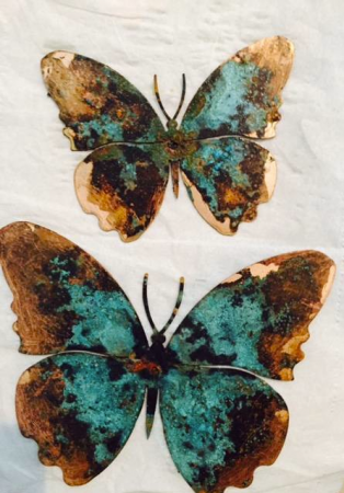 copper butterflies with verdigris